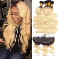 Quality Enropean Virgin Human Hair Extensions 13 X 6 Lace Frontal 1B / 613 Color for sale