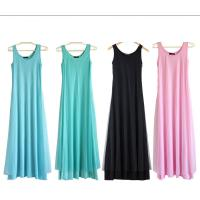 O Neck Teal Pink Womens Summer Maxi Dresses Mesh Veils Strappy Prom Dresses