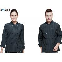 China Personalized Chef Cook Uniform , White / Black Chef Coats With Double Breasted Stripe on sale