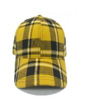 Quality Plaid 6 Panel Checkered Baseball Cap , Fashion Sports Fitted Hats 58cm Size for sale
