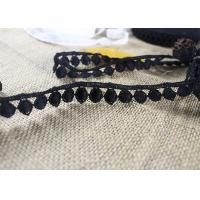 Quality Water Soluble Flat Ball Black Lace Trim By The Yard , Chemical Polyester Lace Ribbon for sale