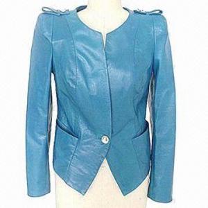 China Ladies' round neck leather jacket, 100% polyester lining on sale