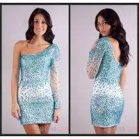 Quality Mini Sheath Long Sleeve Crystal Evening Homecoming Dresses With One Shoulder for sale