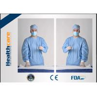 Quality Sterile Disposable Protective Gowns Nonwoven Gowns With Knitted Cuff Medical Blue for sale
