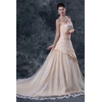 Quality Young Girls Ruffle Taffeta Bridal A Line Wedding Dress with Applique , Champagne for sale