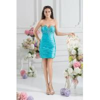 China Sweetheart Tight Satin Plus Size Cocktail Party Dresses with Sleeveless Beads Design on sale