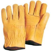 Quality Household Straight thumb Yellow Pig Grain Leather Driving Gloves / Glove 22203 for sale