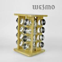 Quality Custom Carousel Bamboo Spice Rack with 16pcs Glass Spice Shakers for sale