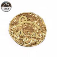 Quality Emoji Totem Reverse Sequin Patch Golden Round Special Design 19*19CM Size for sale