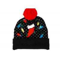 Quality Cozy Knit Black Warm Winter Accessories LED Light Jacquard Soft Xmas Beanie Hat for sale