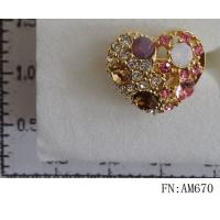 China Wholesale Fashionable Heart Shape Crystal Ring, Finger Rings on sale