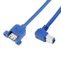 Quality Right Angled USB 3.0 B Male to A Female Panel Mount Cables with PVC Jacket for sale