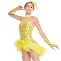 Buy cheap Mock Neck Sequins Jazz Costume Feather Trimmed Dance Dress Illusion Deep-V from wholesalers