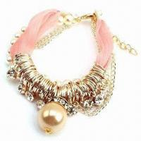 China Bracelet, Made of Plastic Pearls and Lace, Many Colors are Available on sale