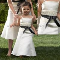 Quality Lace Waist With Sash Spaghetti Strap New Flower Girl Dress (FD10011) for sale