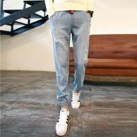 Quality Grey / Blue Womens Slim Straight Leg Jeans Regular Rise Customize Printing for sale