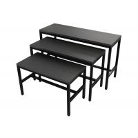 Quality Wooden Panel Metal Frame Garment Display Stands Clothing Display Tables Black Finish for sale