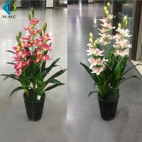 China Fabric Floral Artificial Orchid In Pot For Indoor Home Decoration 1m Height on sale