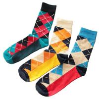 China Fashionable terry knitted cotton socks in argyle diamond check design for business men on sale