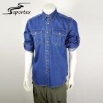 Quality Durable Pocket Blue Washed Denim Shirt Plain Dyed Technics OEM / ODM Pattern for sale