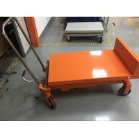 Quality Portable Manual Tilting Scissor Lift Table Four Wheels Running For Warehouse for sale