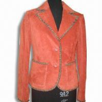 China Ladies Silky Blazer with Pig Suede, Made of 100%Leather and Woven Fabric Trimming on sale