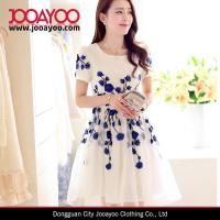 Buy Fit and Flare Elegant White and Blue Flower Embroidered Organza Sweety Girls Dress at wholesale prices