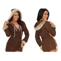 Faux Suede Party Adult Costumes , Sexy Women Daring Eskimo Adult Halloween Costumes