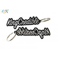 Quality Heat Cut Border Letter Custom Embroidered Key Tags With Metal Ring Accessory for sale