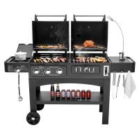 Quality Flame Safety Commercial Kitchen Equipments Dual Fuel GAS / Charcoal BBQ Outdoor Combo Grills for sale