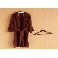 Quality Hotel Kimono Collar Bathrobes Towel Soft Coral Velvet Dark Red Color for sale