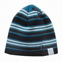 Quality Fashion knitted winter hat with nice stripes pattern for sale
