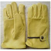 Quality 9 - 11 inch adjustable band Golden Yellow Cow Grain Leather Driving Gloves / Glove 12205 for sale
