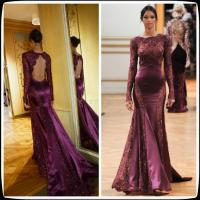 China Burgundy Long Evening Party Dresses With Long Sleeves , Zuhair Murad Pageant Gowns on sale
