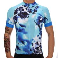 China Outdoor Fashion Custom Cyclist Clothing Suits Blue Colorful Digital Sublimation Printing Polyester Dryfit Riding Jersey on sale