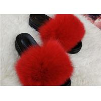 Quality Summer Lady Sandals Womens Fox Slippers , Super Soft Fuzzy Slide Slippers  for sale