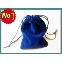 Quality Smart Blue Velvet Drawstring Bag Silk Screen Printing , Eco-Friendly Velvet Fabric for sale