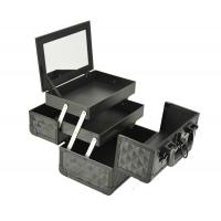 Quality Black Small Aluminum Cosmetic Train Case With Mirror Inside, Professional Makeup Case for sale