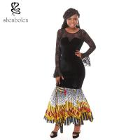 China Summer Lace Batik Cloth Stitching Long Sleeves Modern African Dresses Novelty on sale