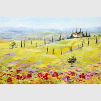 Quality Modern Abstract Landscape Oil Painting Yellow Red Tuscany Village Companies Decor for sale