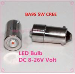 Quality ba9s led 6V 12V 24V 5w 8v-26v recessed screw LED light BA9S 5W CREE screw base led flashlight bulb for sale