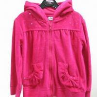 China Girl's velour hoody, made of 75% cotton and 25% polyester on sale