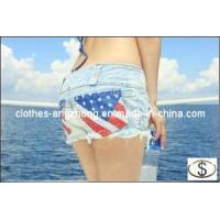 Buy cheap New Women Casual Jeans Shorts with American Flag Denim Jeans Shorts Summer Pants from wholesalers