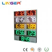 Quality 10 Inch Outside Digital Gas Price Signs Aluminium Frame / Iron Cabinet With Clock for sale
