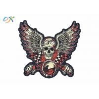 Quality Rectangle Shape Custom Motorcycle Jacket Patches Embroidered Logo Polyester Material for sale