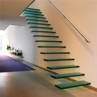 Quality High quality straight floating staircase with wood tread and glass railing for sale
