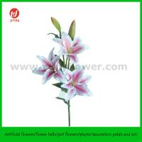 """39.5"""" Hand Made Silk Flower of Tiger Lily 3 Flowers and 2 Buds"""