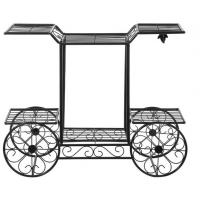 Quality Customized Outdoor Garden Decor Cart Design Metal Plant Pot Holder for sale