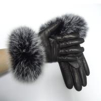 Quality Sheepskin Womens Soft Leather Gloves Wool Lined Fox Fur Leather Gloves for sale