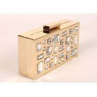 Rectangle Shape Stone Clutch Bag Gold Frame Silver Glass Stone For Elegant Lady